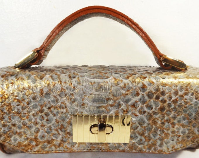 Jazz Mini Blue Constructed Python Bag