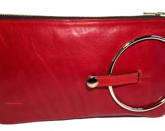 Micale Medium Red Orange Leather Clutch / Wristlet