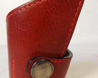 Asymmetrical Red Leather Bracelet