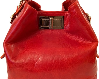 Valerie Red Orange Bucket Bag