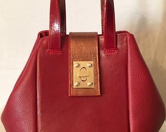 Sabrina Medium Red Bucket Bag