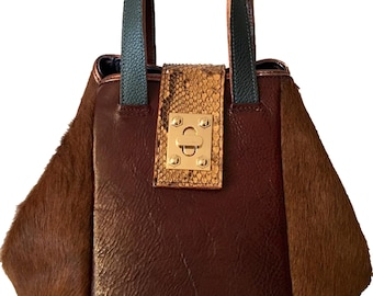Sabrina Brown Pony Bucket Bag
