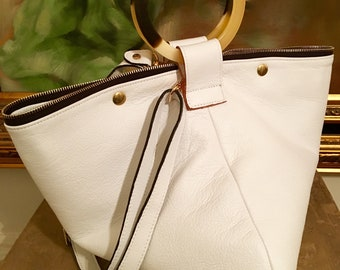 Tracy White Geometric Shape Tote / Hobo
