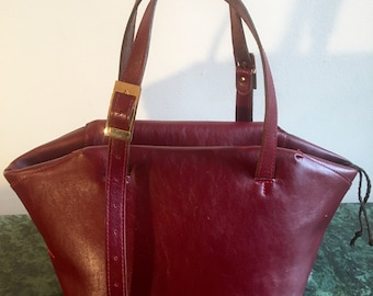 Tanya Red Geometric Shape Leather Tote