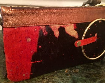 Micale Medium Acid Wash Metallic Gold On Brown / Orange calfskin  Clutch / Wristlet