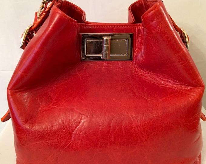 Valerie Red Orange Bucket Bag