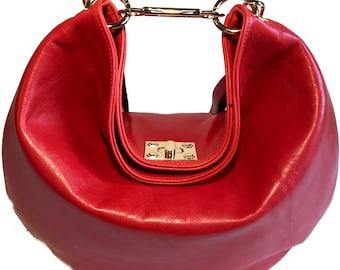 Abby Medium Red Orange Hobo Bag