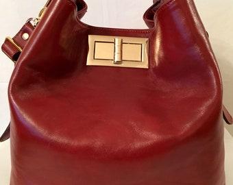 Valerie Dark Red Bucket Bag
