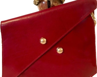Nicolette Red Leather Asymmetrical Clutch