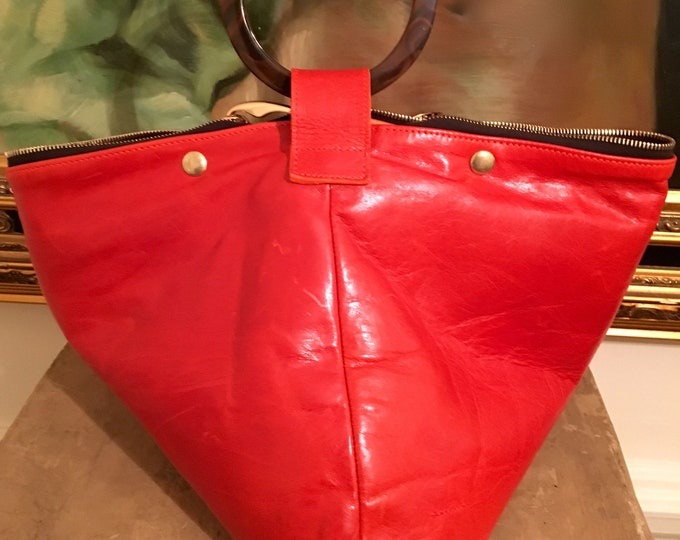 Tracy Red Orange Geometric Shape Tote/ Hobo
