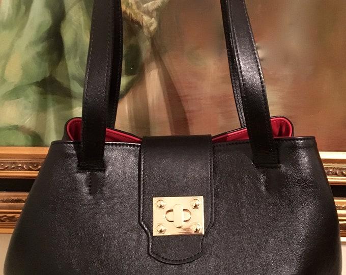 Angelina Black Leather tote / Shopper Bag