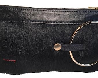 Micale Medium Black Pony Skin Clutch / Wristlet