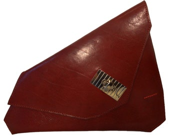 Sumaya Red Leather Asymmetrical Clutch