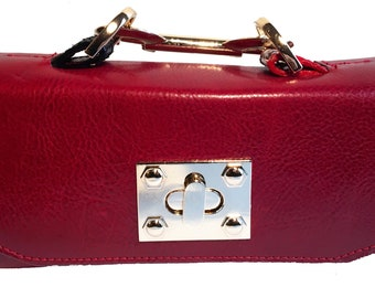 Jazz Red Accented Python Mini Constructed Clutch