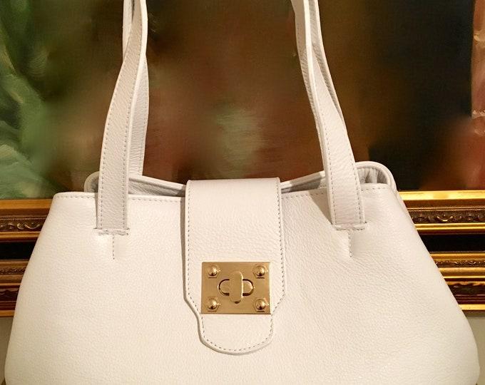 Angelina White Leather Tote / Shopper Bag