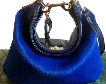 Talia Blue Pony Skin / Blue Leather Hobo Bag