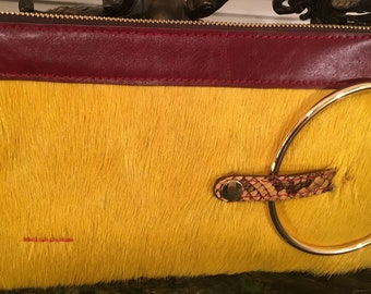 Micale Medium Yellow Pony Clutch / Wristlet
