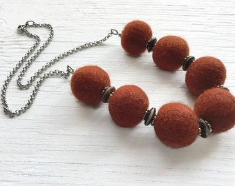 Rust wool felted beads necklace ... stainless steel ... NN2611NCK