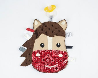 Boy Horse Binky Buddy, Monogrammed Lovey, Pacifier Holder, Binky Holder, Personalized Paci Holder, Security Blanket, unique baby girl gifts