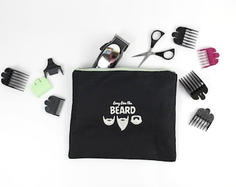 Beard Trimming Accesory  Bag, Trendy Gifts, Gifts for Him, Long live the beard zipper bag, Unique Gifts for him, Trendy