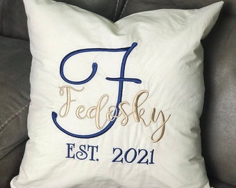 Monogrammed Decorative Pillow Cover, Personalized wedding gift