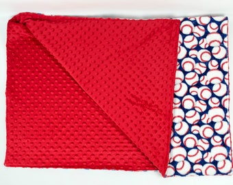 FREE PERSONALIZATION Boy Baseball Minky Theme Crib Size Blanket, Baby or Toddler Minky Dot Blanket, Trendy gifts for baby,