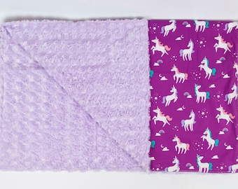 FREE PERSONALIZATION Purple Unicorns Theme Crib Size Blanket, Baby or Toddler Minky Dot Blanket, Trendy gifts for baby