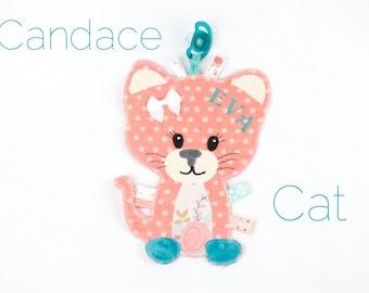 Coral Girl Cat Binky Buddy,Lovey Paci Holder, Animal Pacifier Blanket, Minky Security Blanket, Flower baby gifts, personalized lovie,
