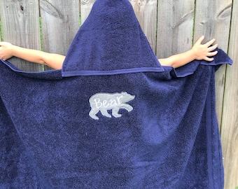 Bear Hooded Bath Towel, Hooded Swim Towel, personalized Hooded Towel, gifts for kids, Great Birthday gift for kids, monogrammed kids towel,