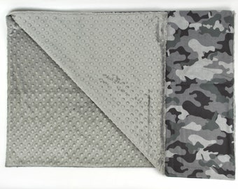 FREE PERSONALIZATION Boy Gray Military Camo Theme Crib Size Blanket, Baby or Toddler Minky Dot Blanket, Trendy gifts for baby,