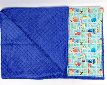 FREE PERSONALIZATION Boy Play Mat Road Theme Crib Size Blanket, Baby or Toddler Minky Dot Blanket, Trendy gifts for baby