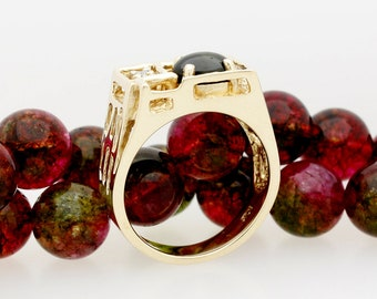 Classic Vintage Mans Black Star Sapphire & Diamond Gents Ring Free Form Nugget Design Size 10 Item S-96 Estate Item