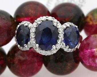 14K White Gold Ladies Three Oval Sapphire Diamond Halo Ladies Ring Refurbish to Look New Size 6 L-8