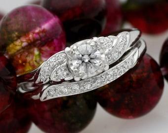 Vintage 18 Karat White Gold Bridal Set Diamond Engagement Ring Brilliant Round Side Diamonds Interlocking Matching Diamond Wedding Band 7.5