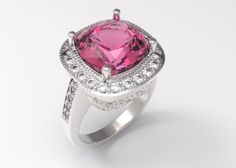 5 Carat Cushion Cut Checkerboard Hot Pink Topaz Diamonds Ladies Engagement Ring Custom Design Made In 14 Karat White Gold Size 6 C18