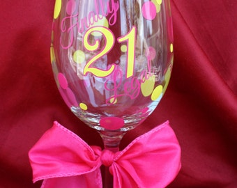 21st Birthday Wine Glass. 21st Birthday Gift Ideas. Finally Legal. 21st Birthday gift. Customize your Colors! (item #1-2-FL21)
