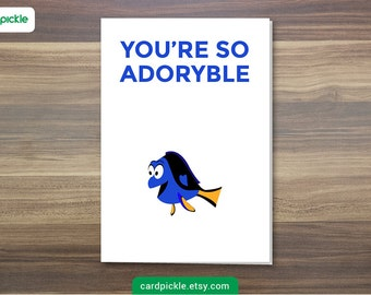 DOWNLOAD Printable Card - I Love You Card - Dory Card - Finding Dory - Happy Birthday - Happy Anniversary