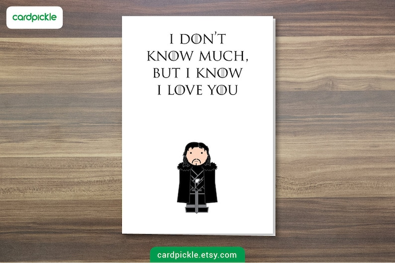 DOWNLOAD Printable Card  I Love You Card  Game of Thrones image 0