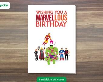 DOWNLOAD Printable Card - Birthday Card - Avengers Card - Marvel Card - Happy Birthday