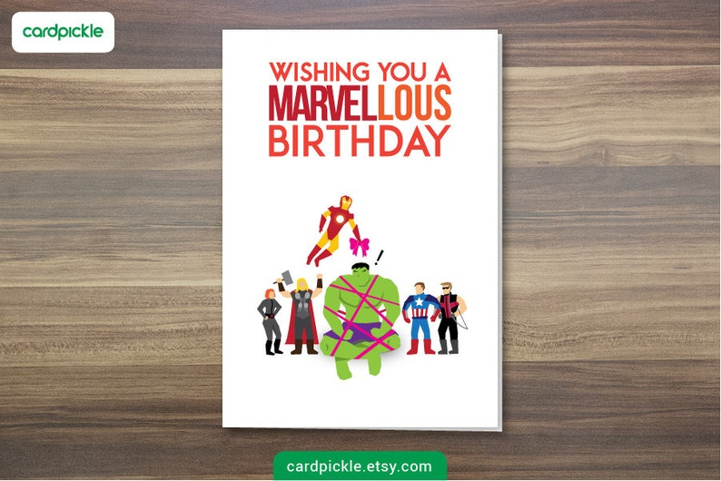 DOWNLOAD Printable Card  Birthday Card  Avengers Card  image 1