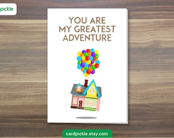 Printable Card, UP Card, I Love You Card, Digital Download, Happy Birthday, Happy Anniversary, UP Cartoon