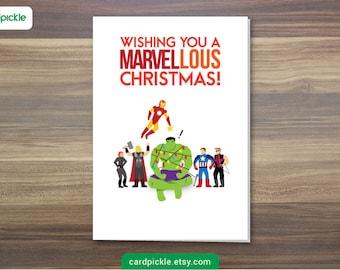 DOWNLOAD Printable Card - Christmas Card - Avengers Card - Marvel Card - Avengers Christmas