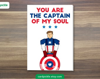 DOWNLOAD Printable Card - I Love You Card - Captain America Card - Happy Birthday - Happy Anniversary - Valentines Card