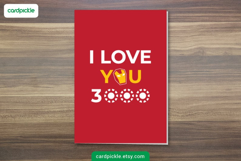 DOWNLOAD Printable Card  I Love You 3000 Card  Ironman Card image 0