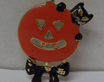 SFJ Pumpkin & Cat Halloween Brooch