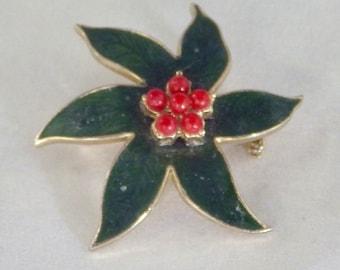 Poinsettia Flower Brooch