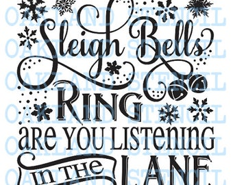 Primitive Stencil~Vintage Style~SANTA AND HIS REINDEER~Christmas Sleigh Bells