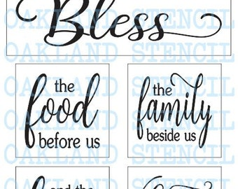 """Blessed Grateful Word Art Stencil -12/"""" x 12/"""" Reusable Quote Stencil Thankful"""