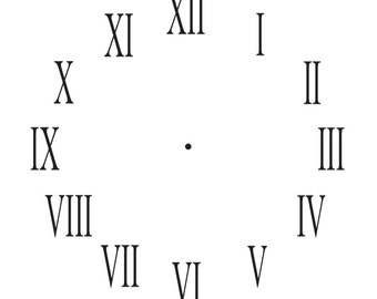 image relating to Roman Numeral Stencils Printable titled Clock stencil Etsy
