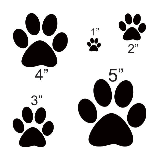 dog paw stencil with 5 total sizes 1 2 3 etsy